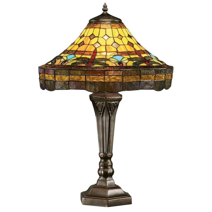 Design Toscano 23-in Bronze Table Lamp with Glass Shade