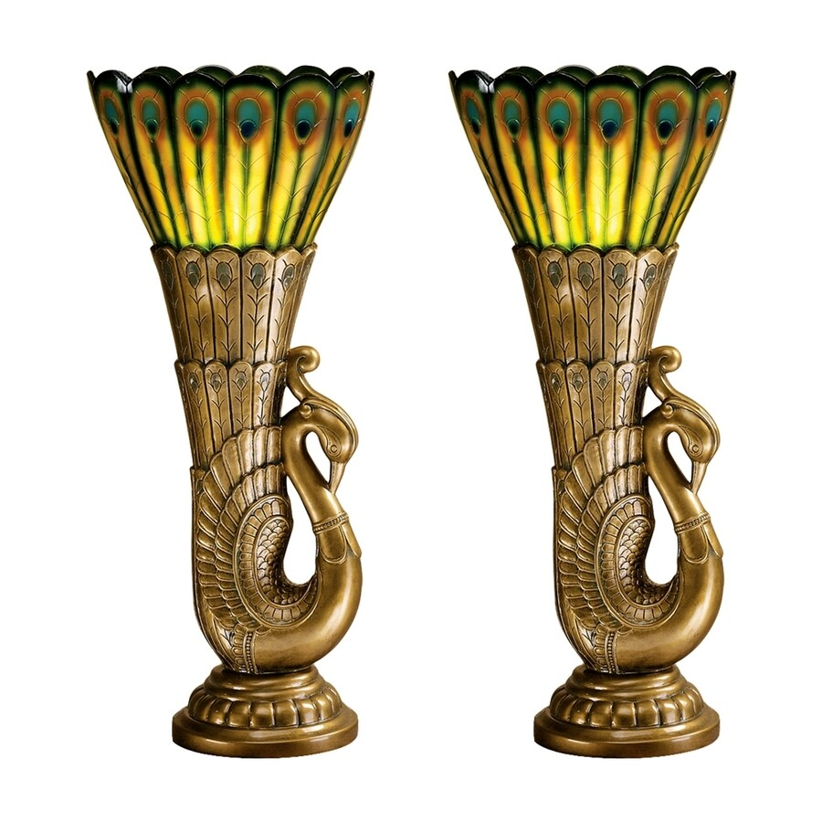 Design Toscano 28.5-in Gold Uplight Table Lamp with Plastic Shade (Set Of 2)