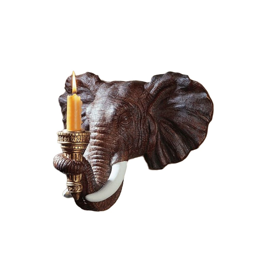 Design Toscano 1 Candle Elephant Resin Sconce Candle Holder