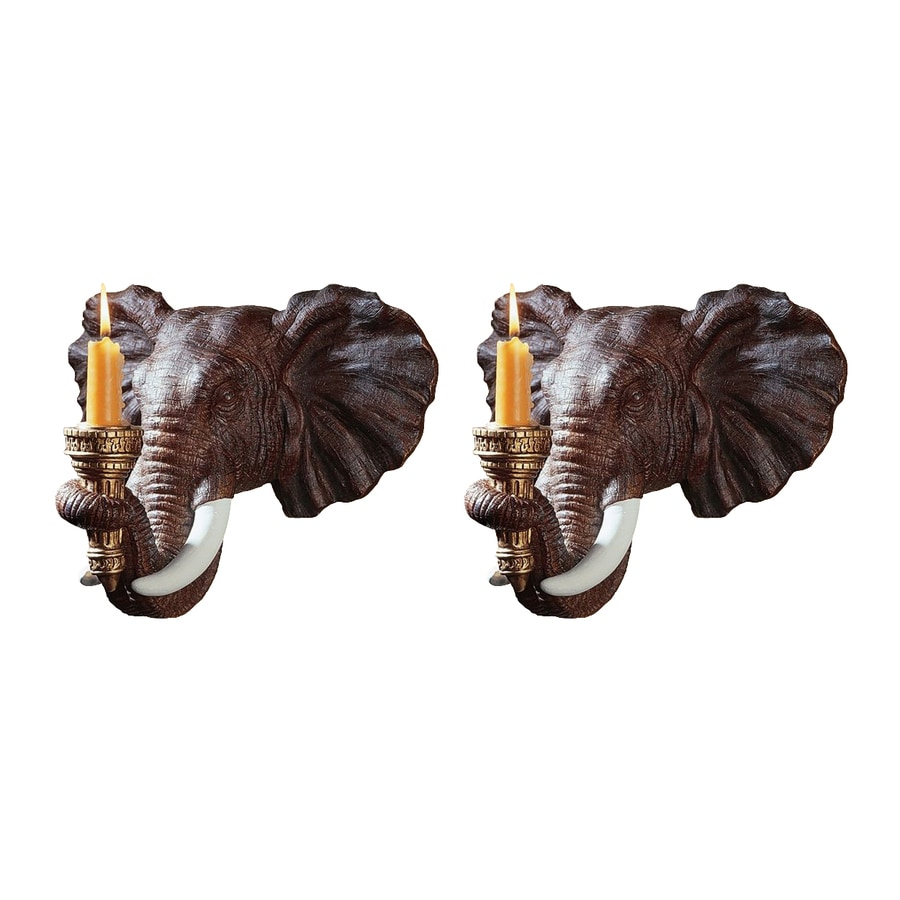 Design Toscano Set of 2 Elephant Resin Sconce Candle Holders