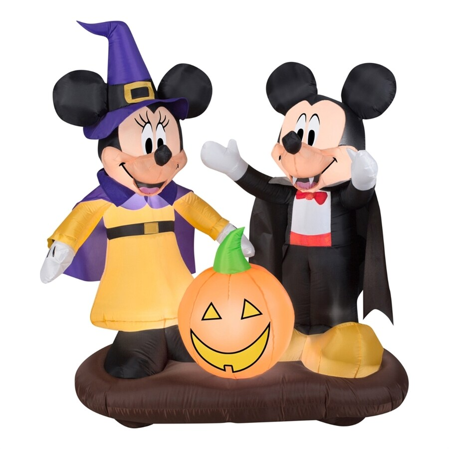 Gemmy Mickey and Minnie with Jack-O-Lantern 4.49-ft x 4.27-ft Lighted Mickey Mouse Halloween Inflatable