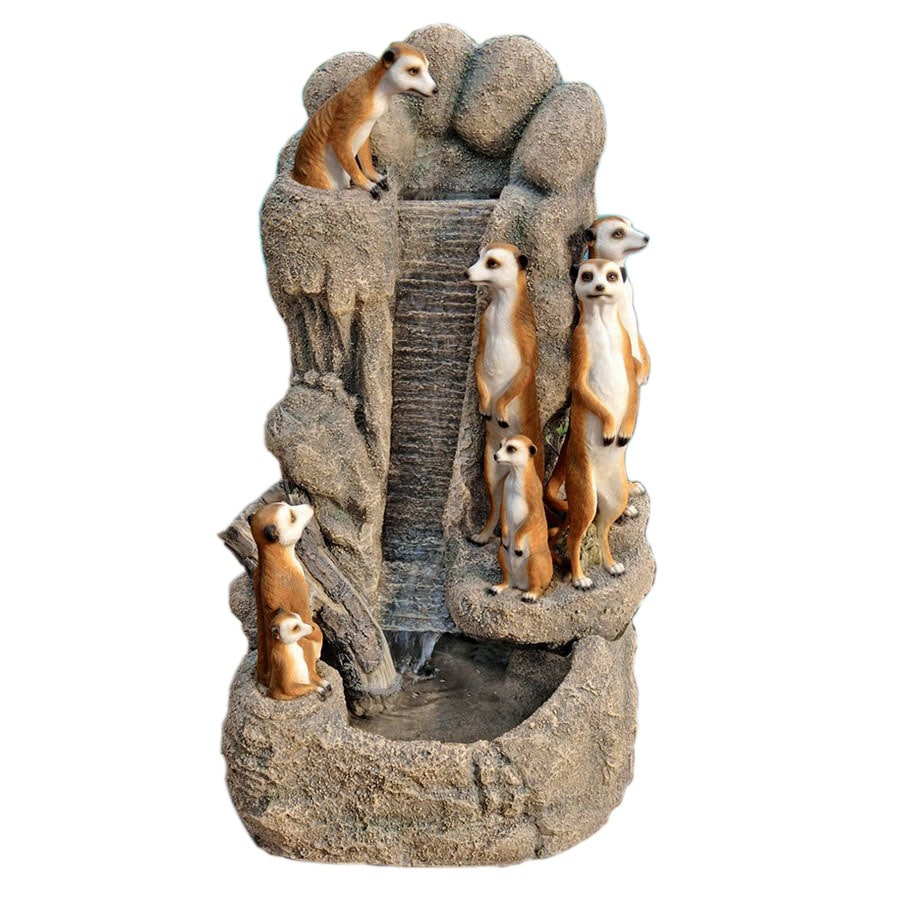 Design Toscano Meerkat Family At The Watering Hole Pool Fountain