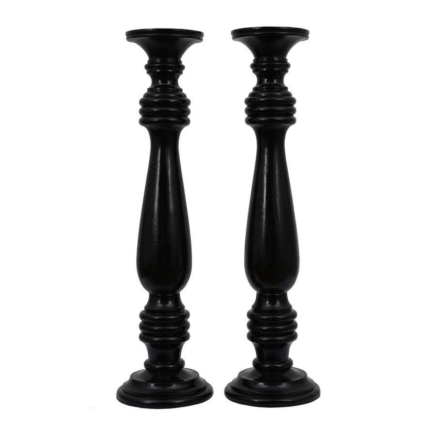 Dcor Therapy 2 Candle Glossy Black Resin Pillar Any Occasion Candle Holder