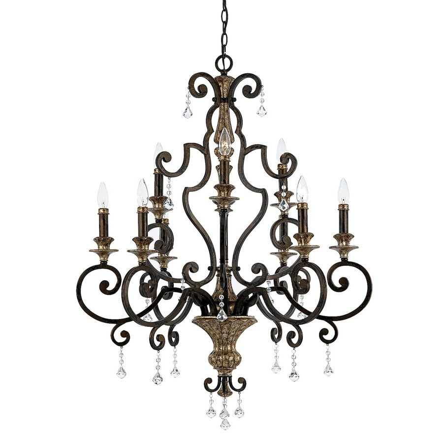 Quoizel Marquette 32-in 9-Light Heirloom Mediterranean Candle Chandelier