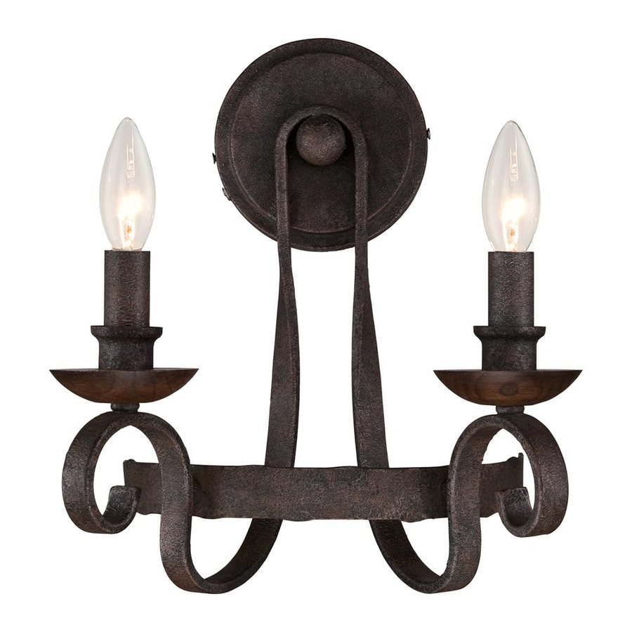 Candle Wall Sconces Lowes : Shop Quoizel Noble 11.5-in W 2-Light Rustic Black Candle Wall Sconce at Lowes.com
