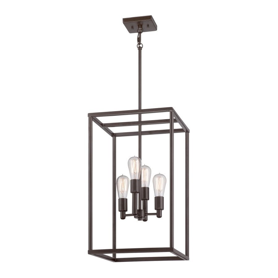 Quoizel New Harbor 14-in 4-Light Western bronze Cage Chandelier