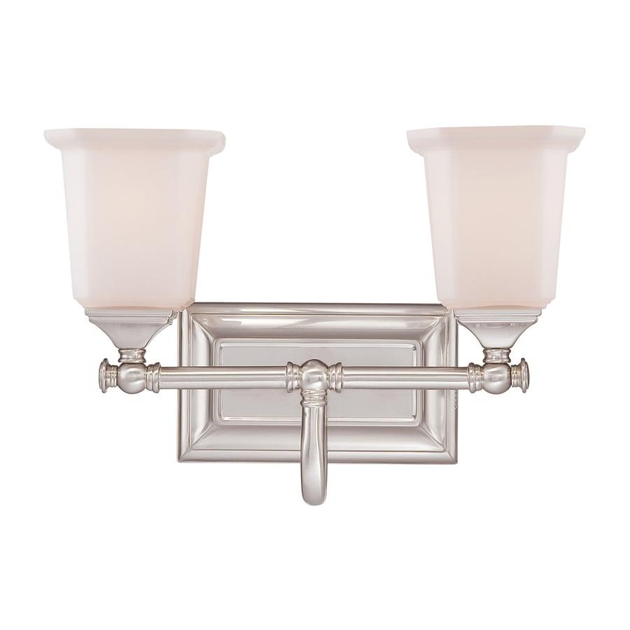 Quoizel Nicholas 2-Light Brushed Nickel Bell Vanity Light Bar