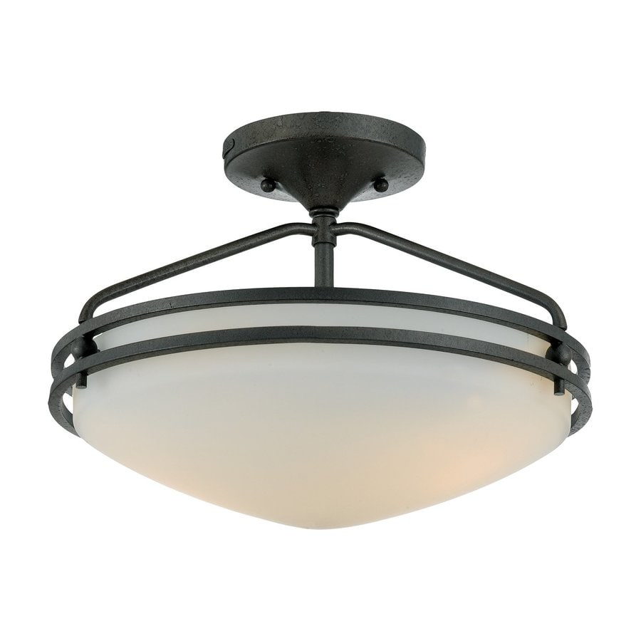 Quoizel Ozark 13-in W Iron Gate Etched Glass Semi-Flush Mount Light