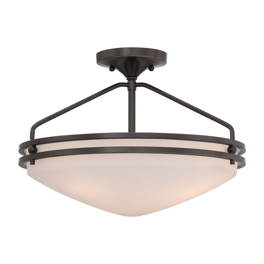 Quoizel Ozark 16.5-in W Palladian Bronze Etched Glass Semi-Flush Mount Light
