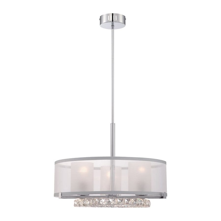 Quoizel Janelle 20-in Polished Chrome Crystal Single Etched Glass Drum Pendant
