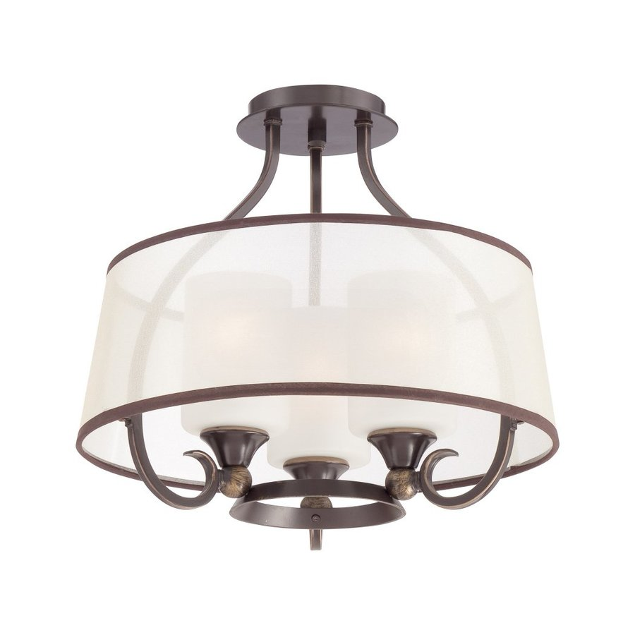 Quoizel Palmer 16-in W Palladian Bronze Etched Glass Semi-Flush Mount Light
