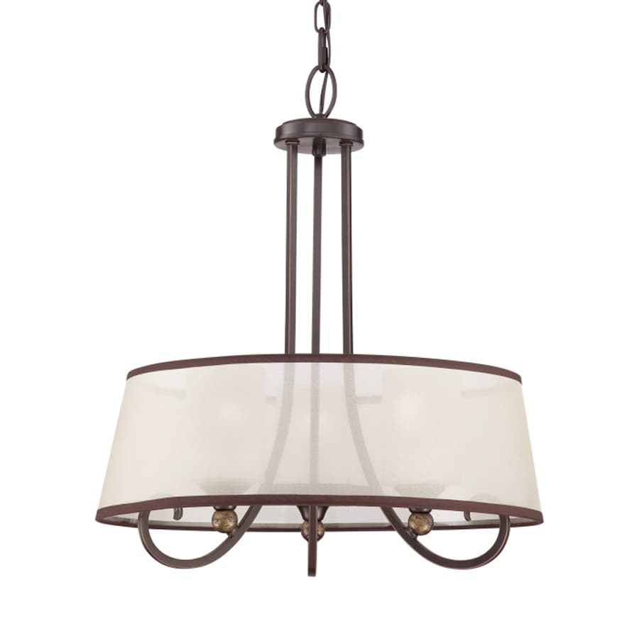 Quoizel Palmer 20-in Palladian Bronze Single Etched Glass Drum Pendant