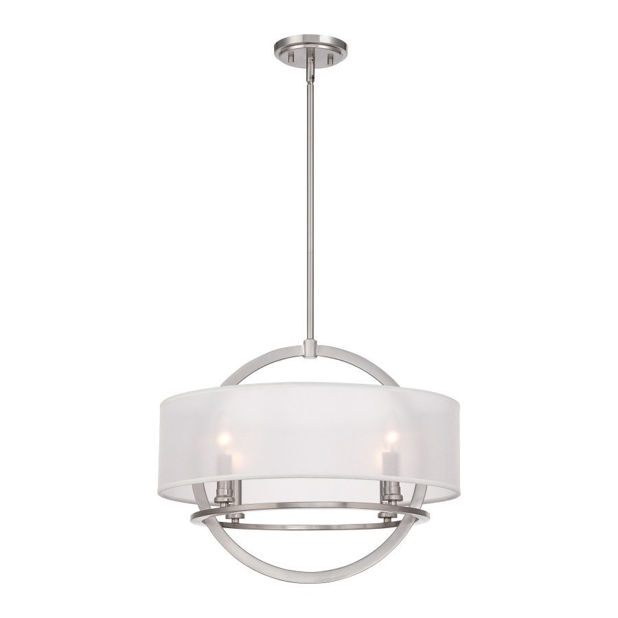 Quoizel Portland 20-in Brushed Nickel Single Drum Pendant