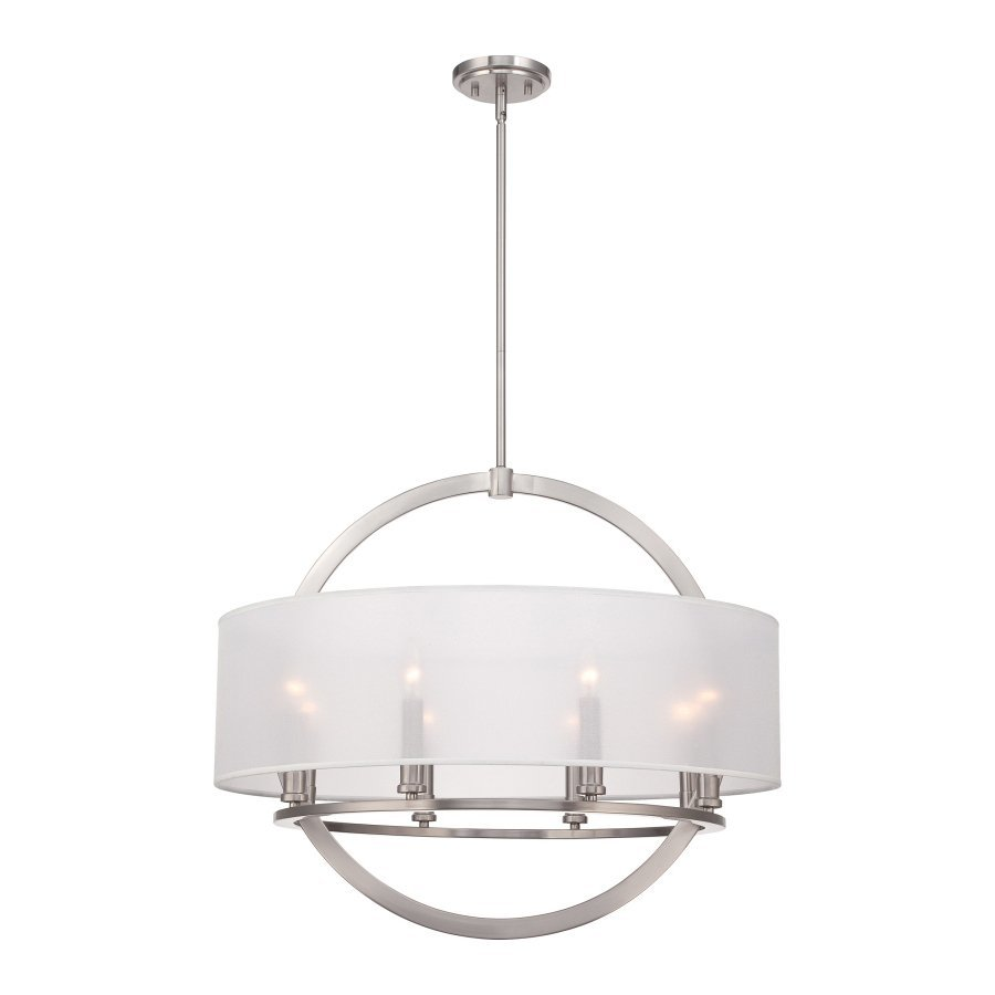 Quoizel Portland 28-in Brushed Nickel Single Drum Pendant