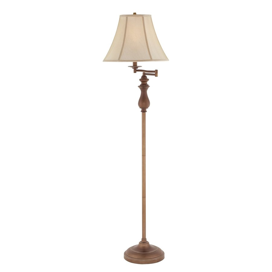 Quoizel 61-in Palladian Bronze 4-Way Swing-Arm Built-in Table Floor Lamp with Fabric Shade