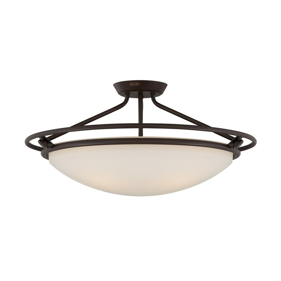 Quoizel 25-in W Western Bronze Frosted Glass Semi-Flush Mount Light