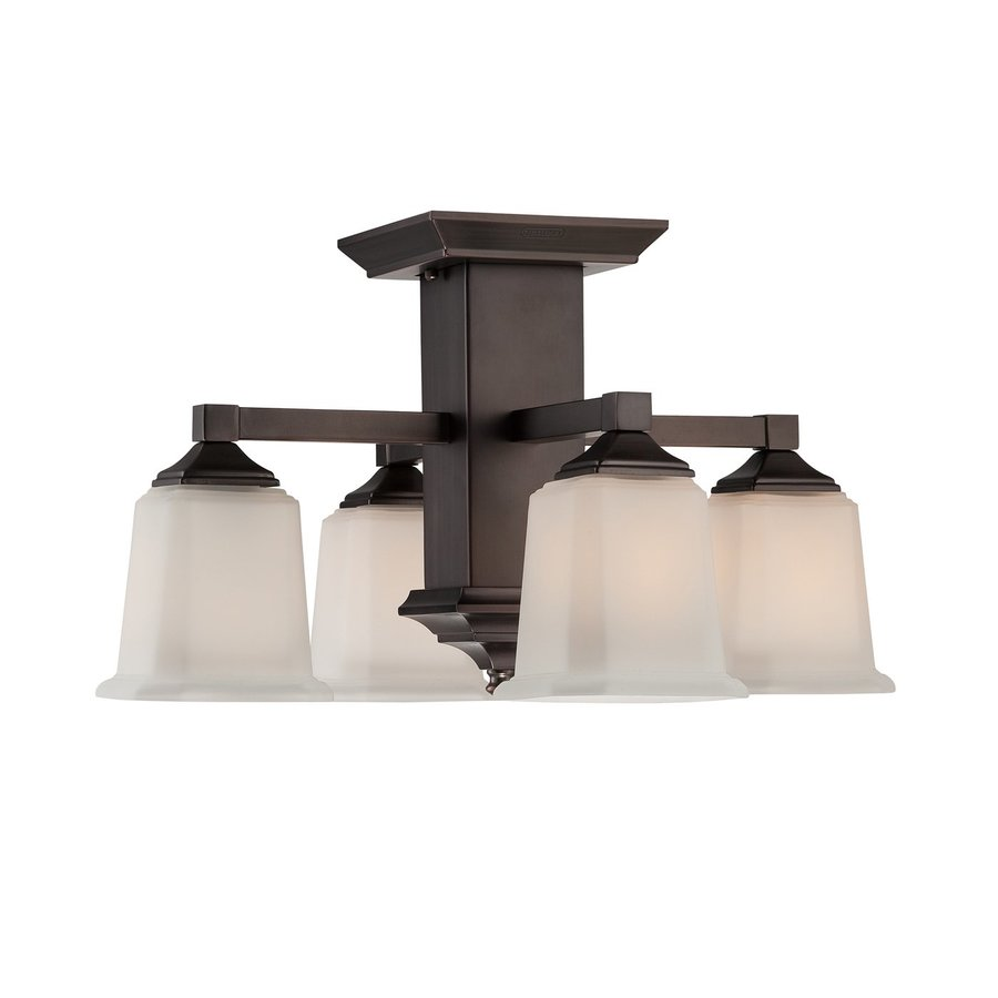 Quoizel Norwood 19-in W Harbor Bronze Etched Glass Semi-Flush Mount Light