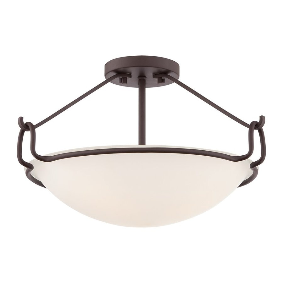 Quoizel Belcourt 18-in W Western bronze Etched Glass Semi-Flush Mount Light