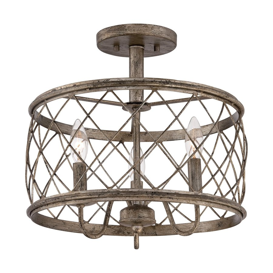 Quoizel Dury 15-in W Century Silver Leaf Metal Semi-Flush Mount Light