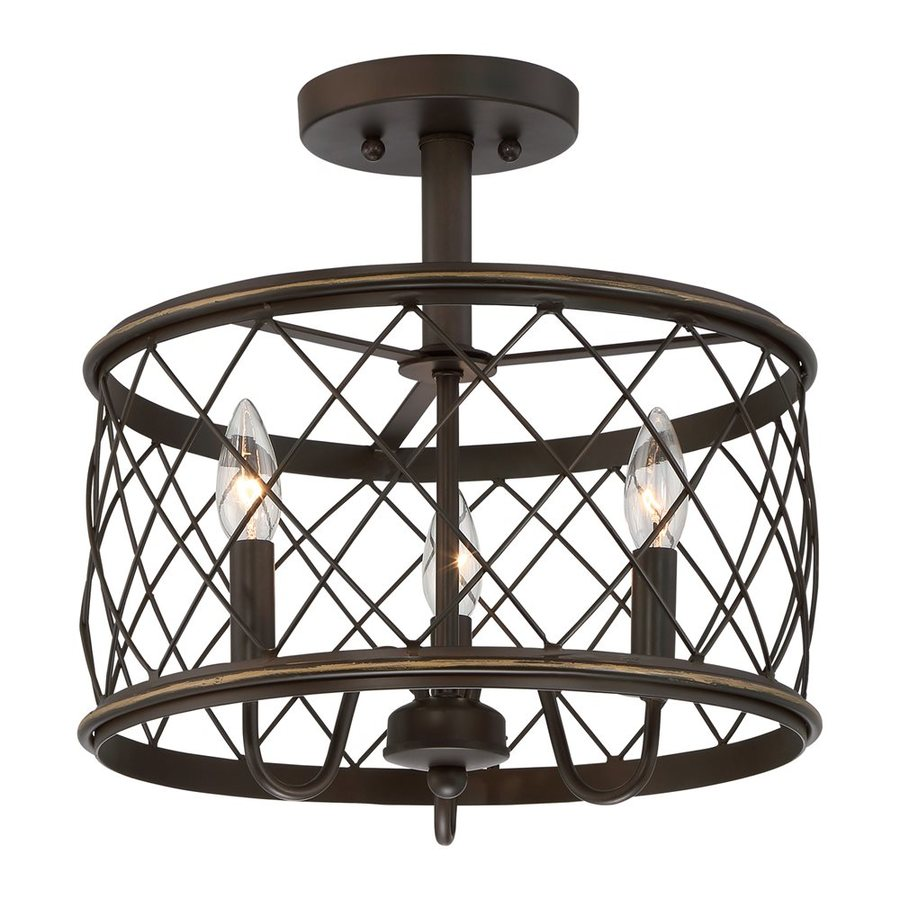 Quoizel Dury 15-in W Palladian bronze Metal Semi-Flush Mount Light