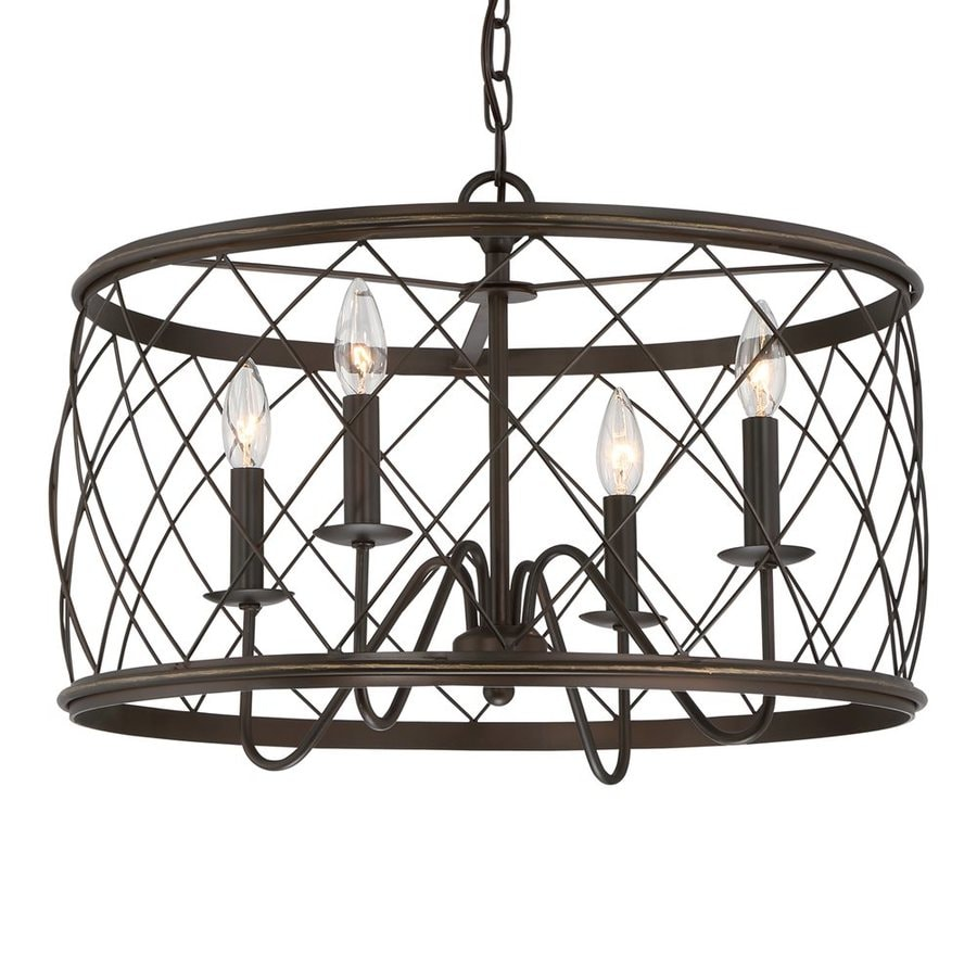 Quoizel Dury 21-in Palladian Bronze Industrial Single Cage Pendant