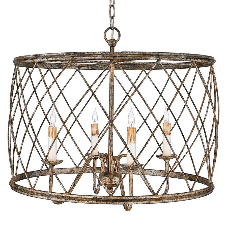 Quoizel Dury 23-in Century Silver Leaf Industrial Single Cage Pendant