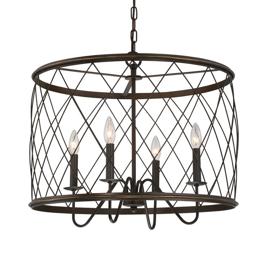 Quoizel Dury 23-in Palladian Bronze Industrial Single Cage Pendant