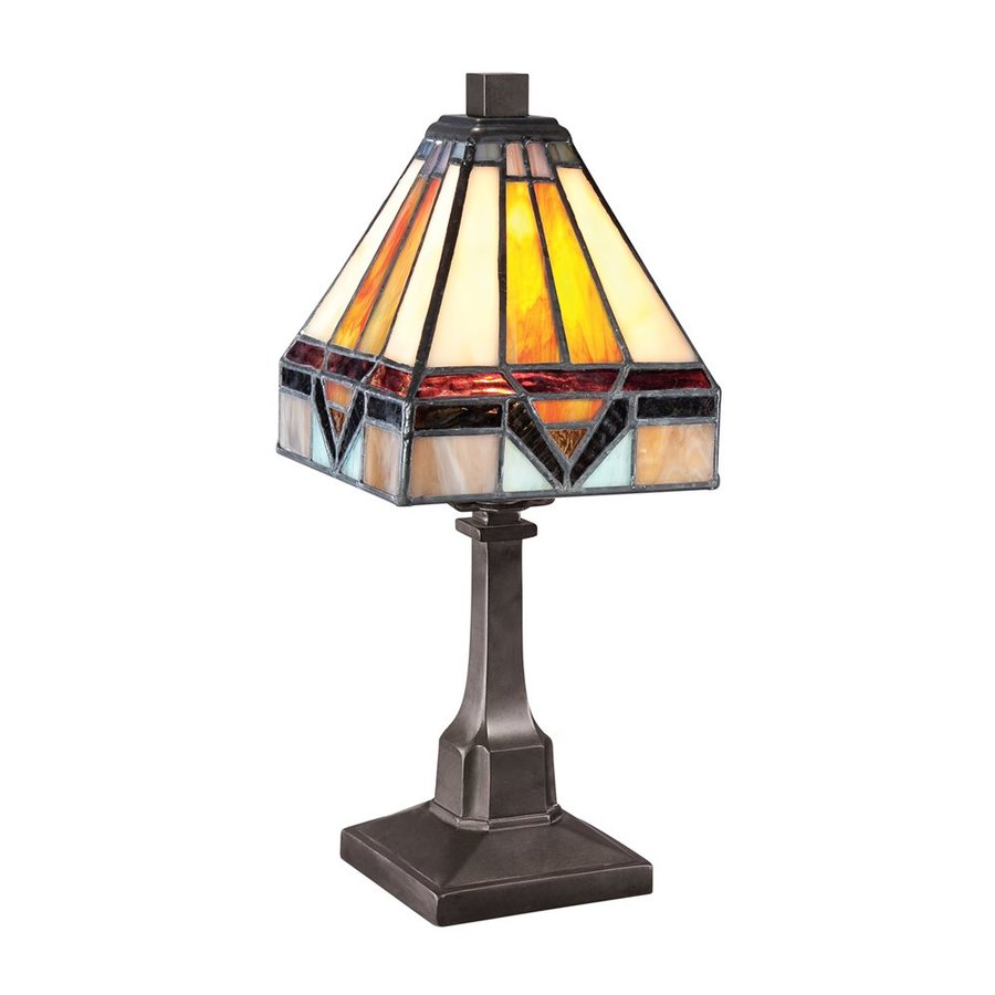 Quoizel Holmes 12-in Vintage Bronze Tiffany-Style Desk Lamp with Glass Shade