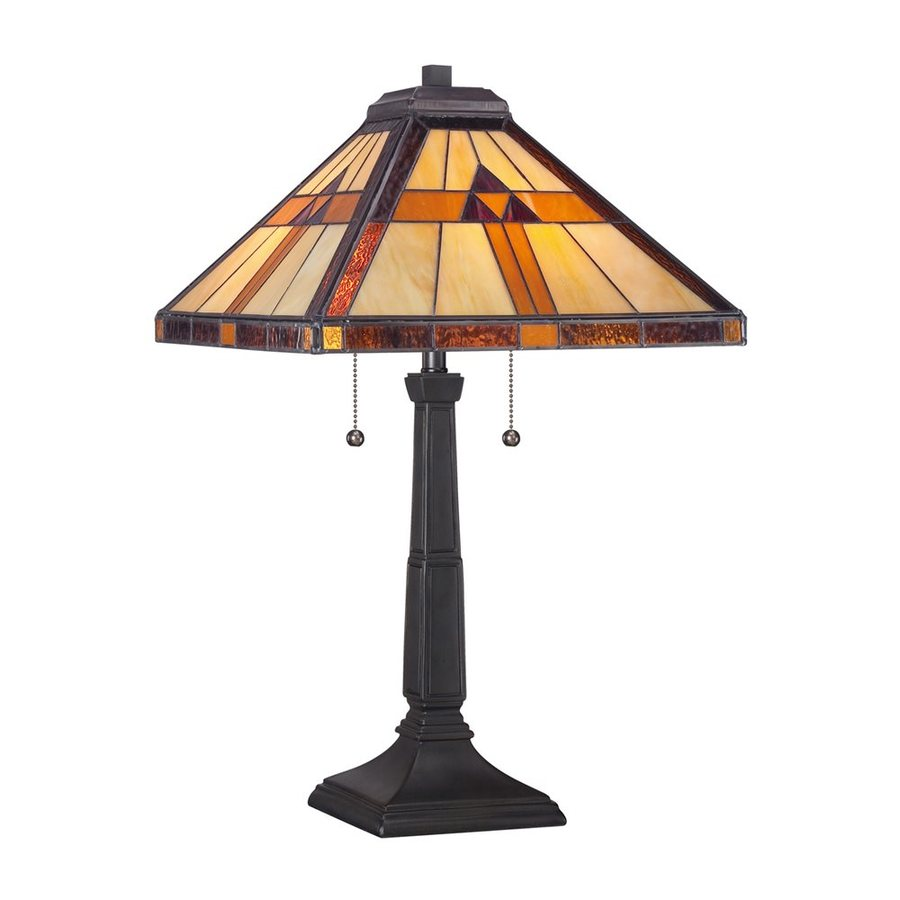 Quoizel Bryant 23-in Bronze Patina Indoor Table Lamp with Tiffany-Style Shade