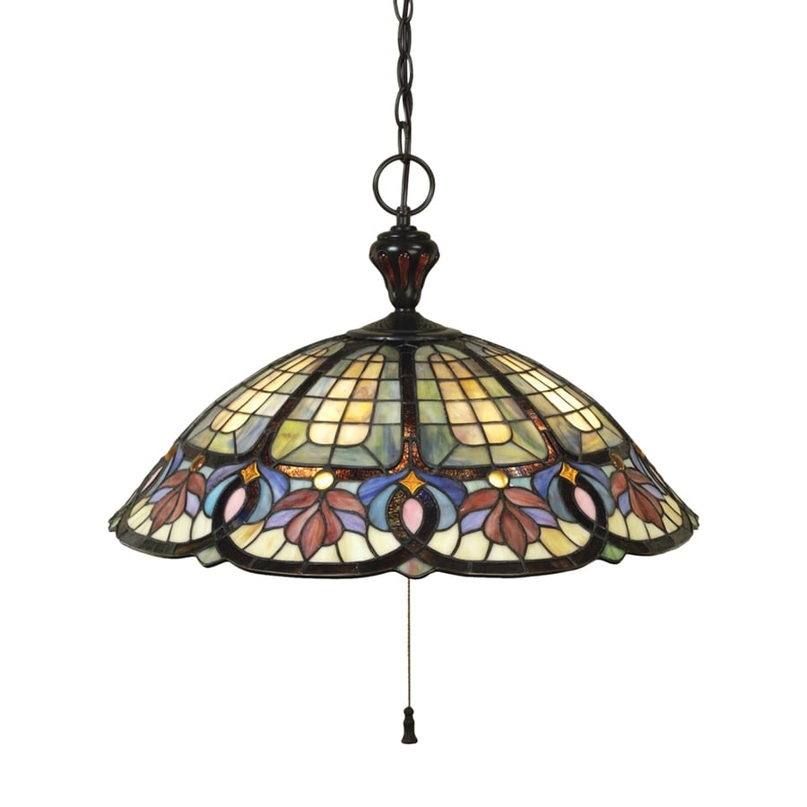 Quoizel Hyacinth 22-in Vintage Bronze Tiffany-Style Single Stained Glass Dome Pendant