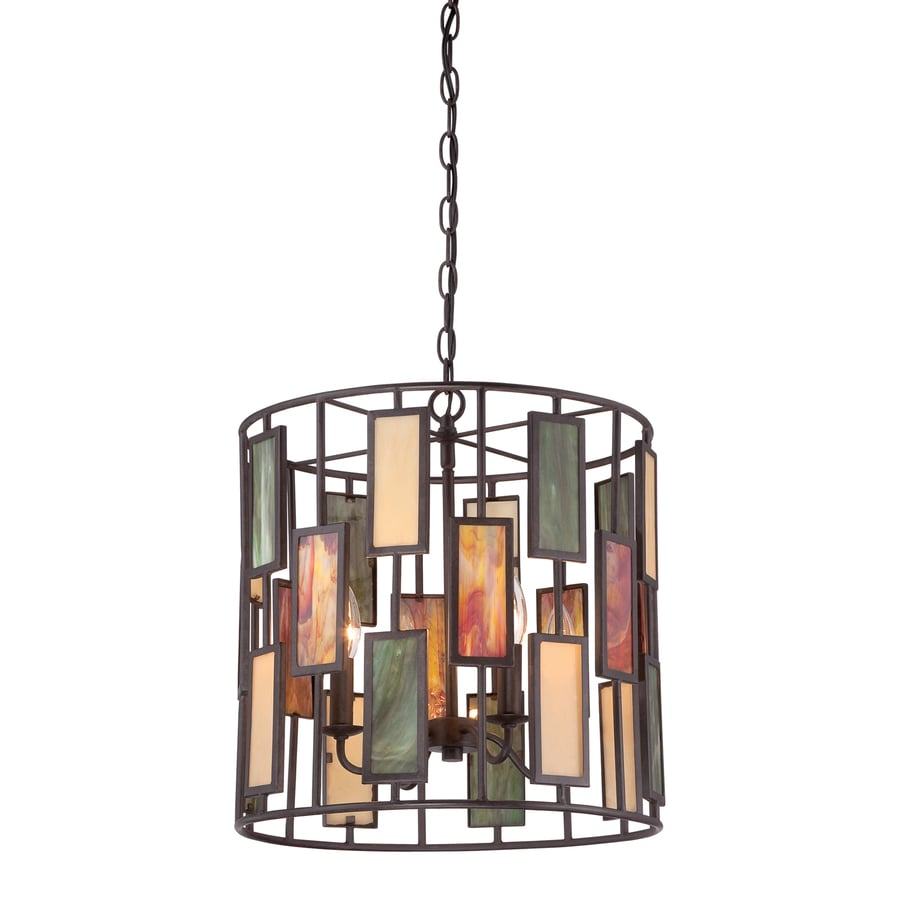 Quoizel Tiffany 16-in Imperial Bronze Tiffany-Style Single Stained Glass Drum Pendant