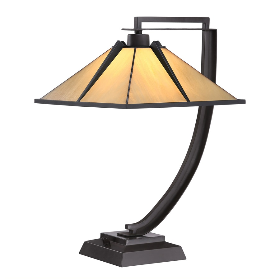 Quoizel Pomeroy 21-in Western Bronze Indoor Table Lamp with Glass Shade