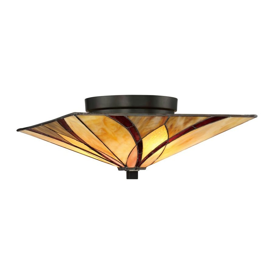 Quoizel Asheville 15-in W Valiant Bronze Stained Tiffany-Style Semi-Flush Mount Light