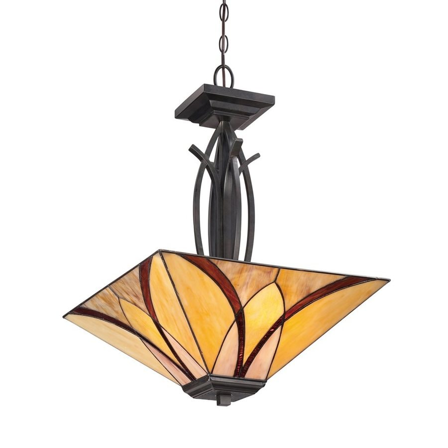 Quoizel Asheville 17-in Valiant Bronze Tiffany-Style Single Stained Glass Bowl Pendant