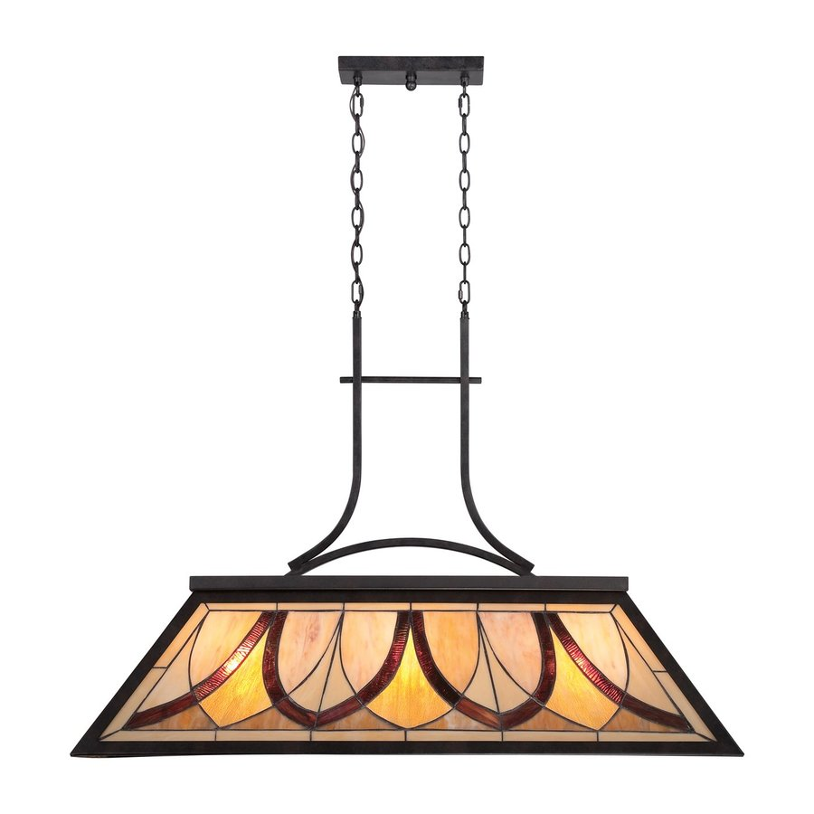 Quoizel Asheville 44-in W 3-Light Valiant Bronze Kitchen Island Light with Tiffany-Style Shade