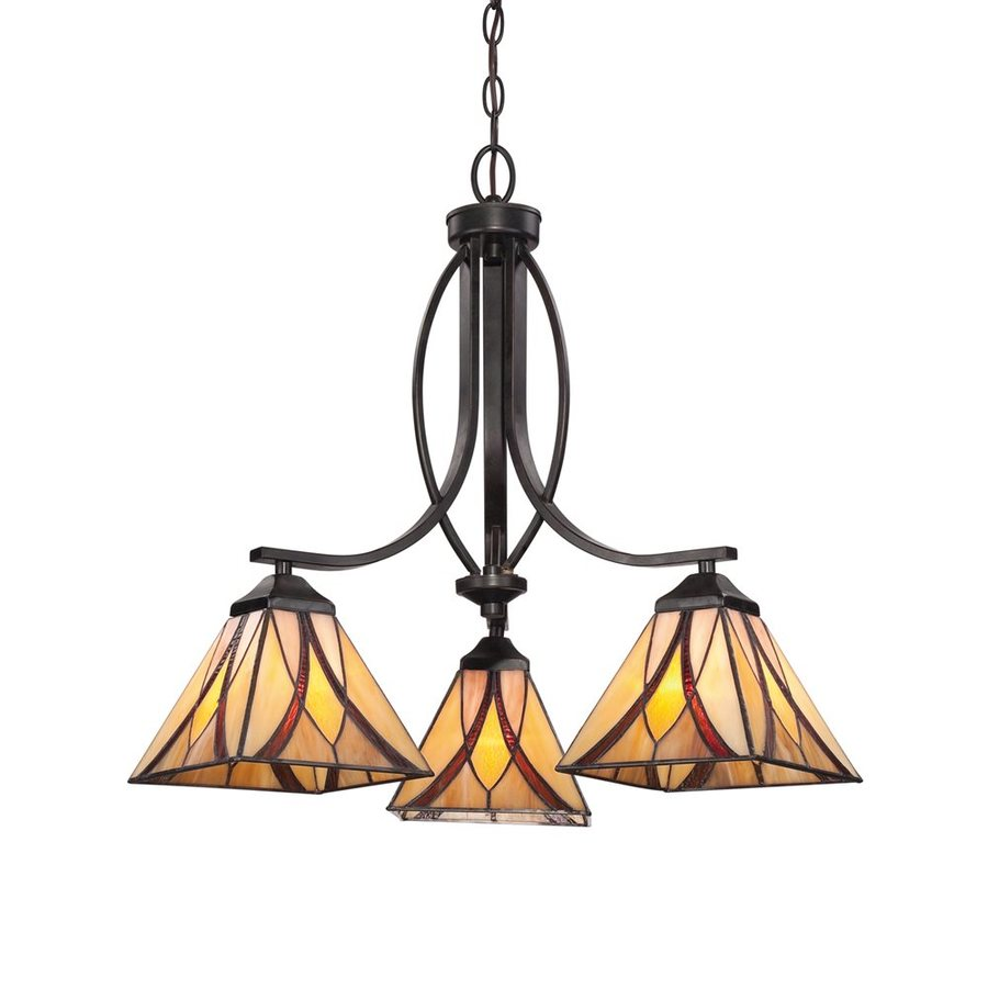 Quoizel Asheville 23-in 3-Light Valiant Bronze Craftsman Stained Glass Shaded Chandelier
