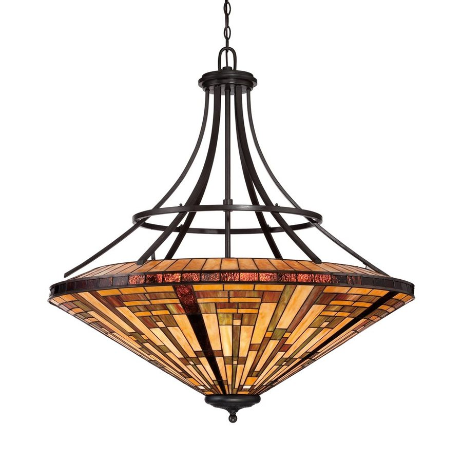 Quoizel Stephen 40-in Vintage Bronze Tiffany-Style Single Stained Glass Bowl Pendant