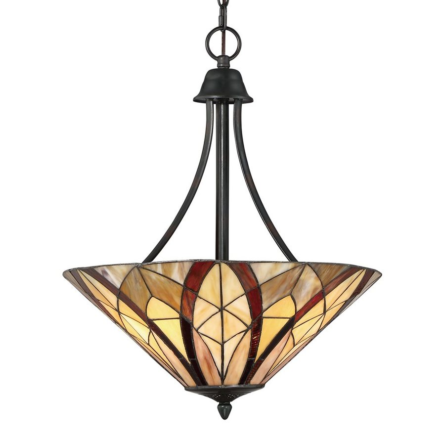 Quoizel Victory 19.25-in Valiant Bronze Tiffany-Style Single Stained Glass Bowl Pendant
