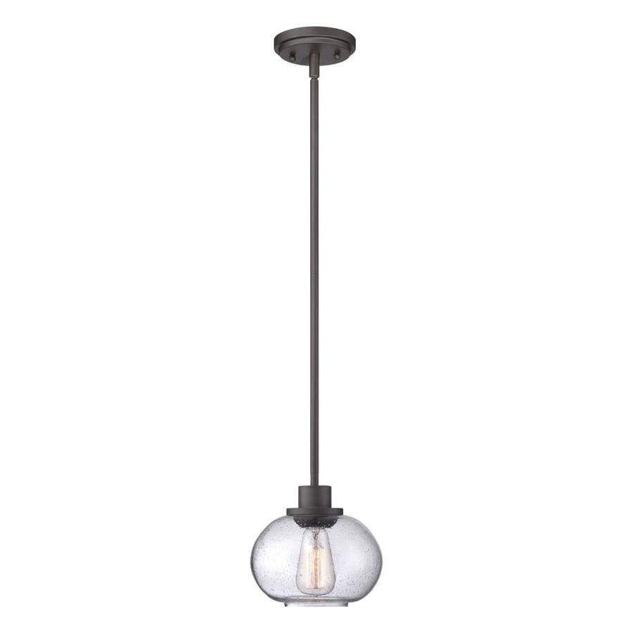 Quoizel Trilogy 8-in Old Bronze Industrial Mini Seeded Glass Globe Pendant