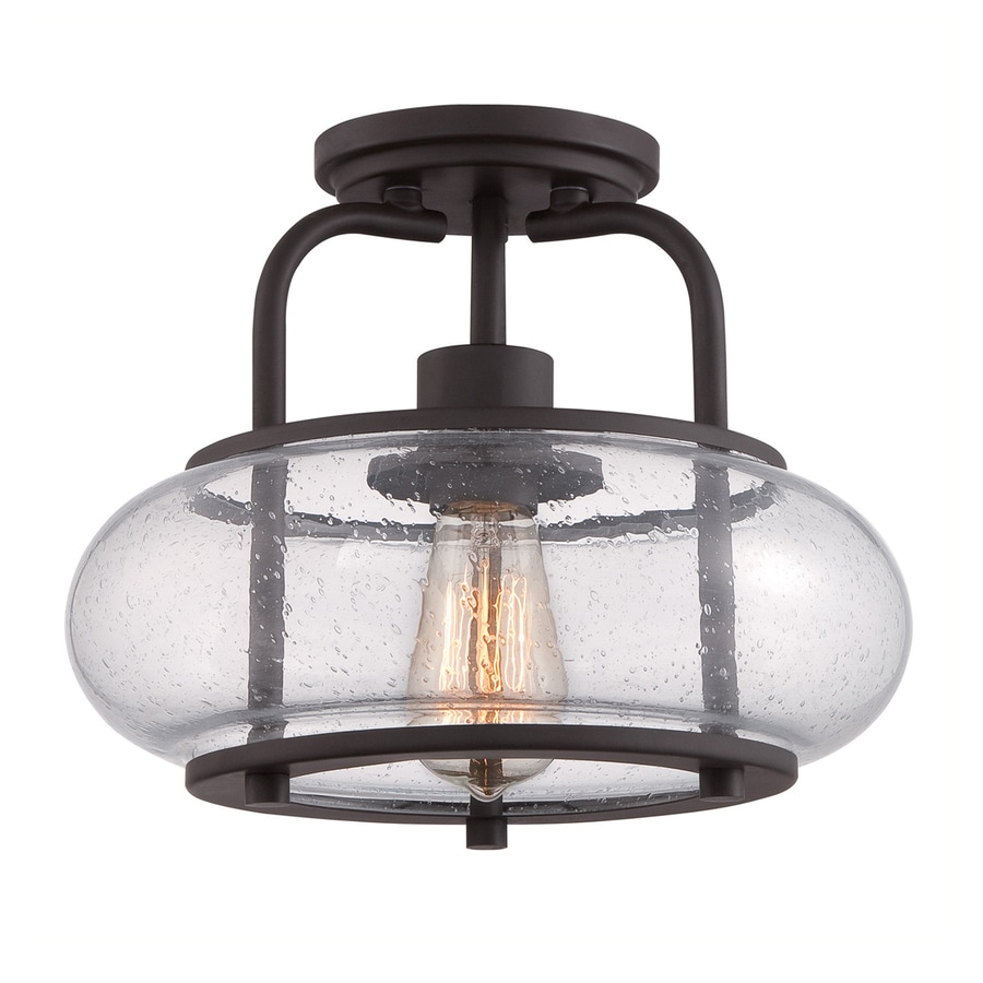 Quoizel Trilogy 12-in W Old Bronze Clear Glass Vintage Semi-Flush Mount Light