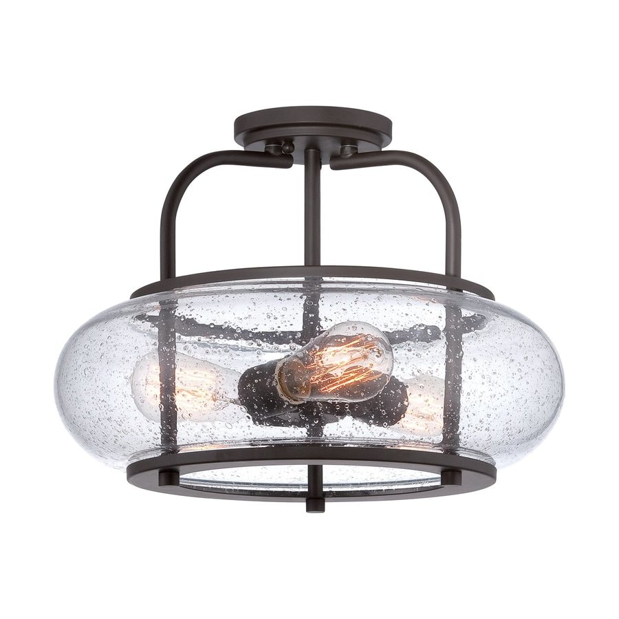 Quoizel Trilogy 16-in W Old Bronze Clear Glass Vintage Semi-Flush Mount Light