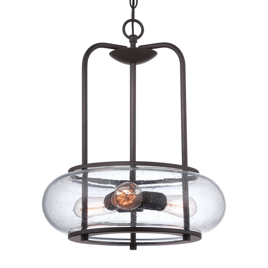 Quoizel Trilogy 16-in Old Bronze Industrial Single Seeded Glass Pendant