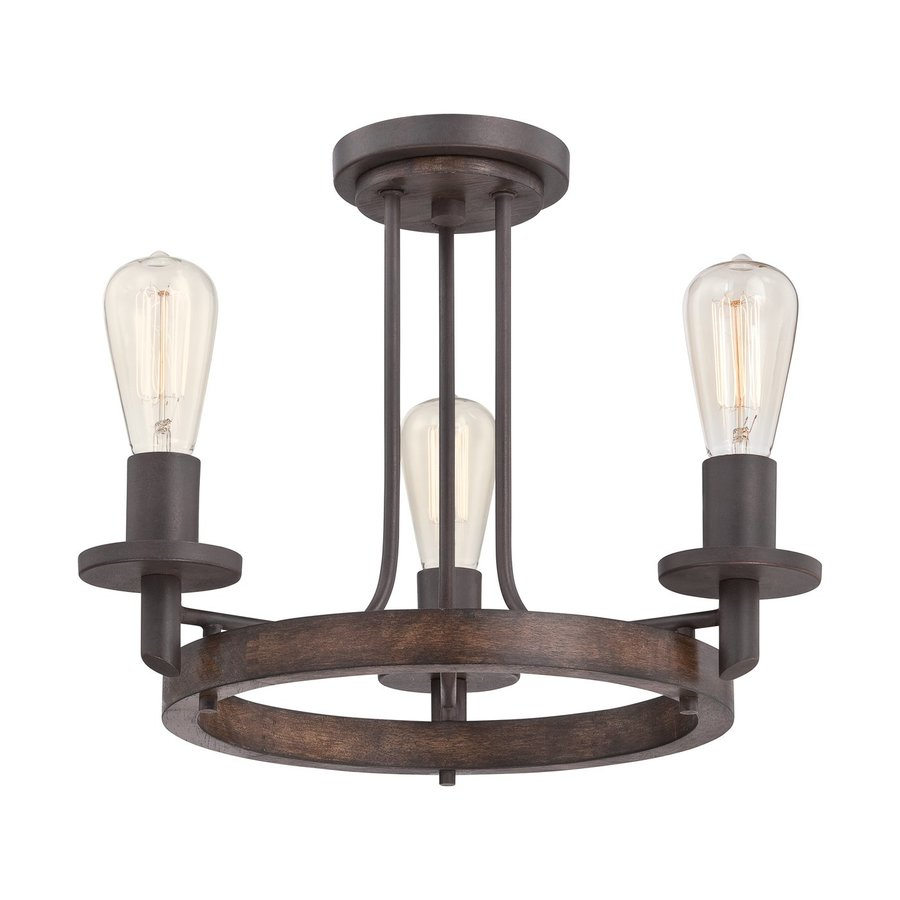 Quoizel Tavern 18-in W Darkest bronze No Shades Semi-Flush Mount Light