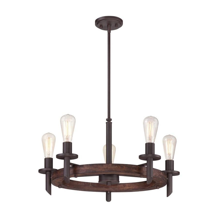 Quoizel Tavern 26-in 5-Light Darkest Bronze Rustic Candle Chandelier