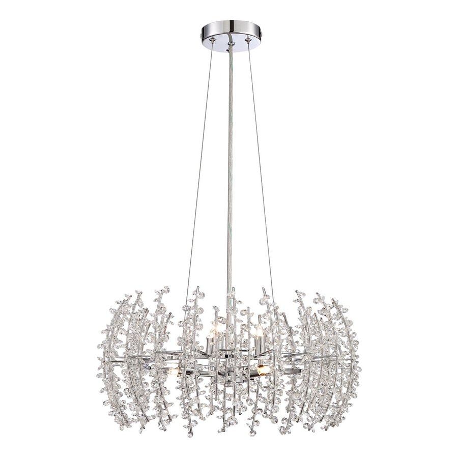 Quoizel Valla 20-in Polished Chrome Crystal Single Crystal Drum Pendant