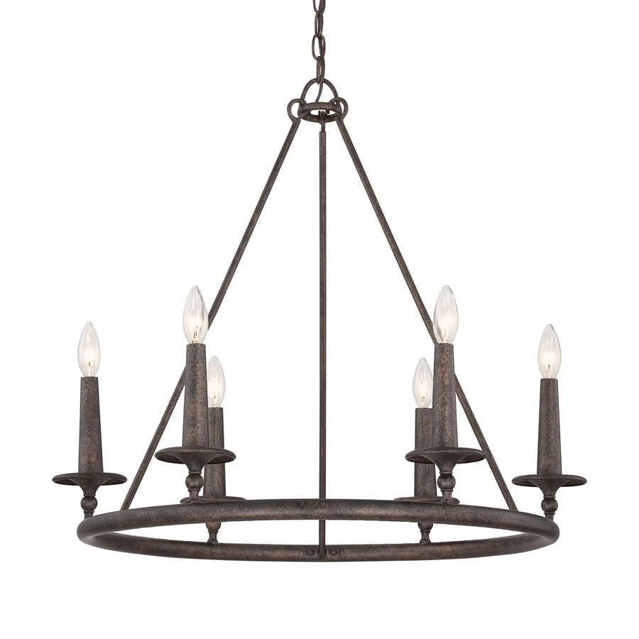Quoizel Voyager 28-in 6-Light Malaga Rustic Candle Chandelier