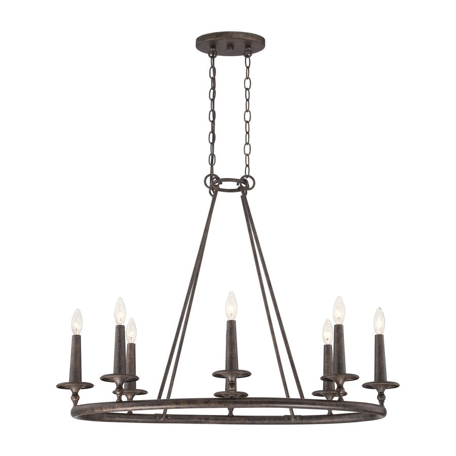 Quoizel Voyager 36-in 8-Light Malaga Rustic Candle Chandelier