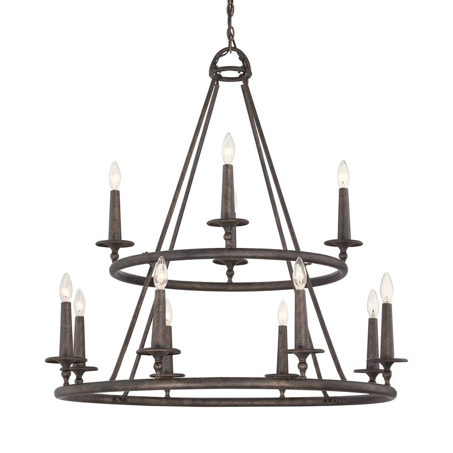Quoizel Voyager 36-in 12-Light Malaga Rustic Tiered Chandelier