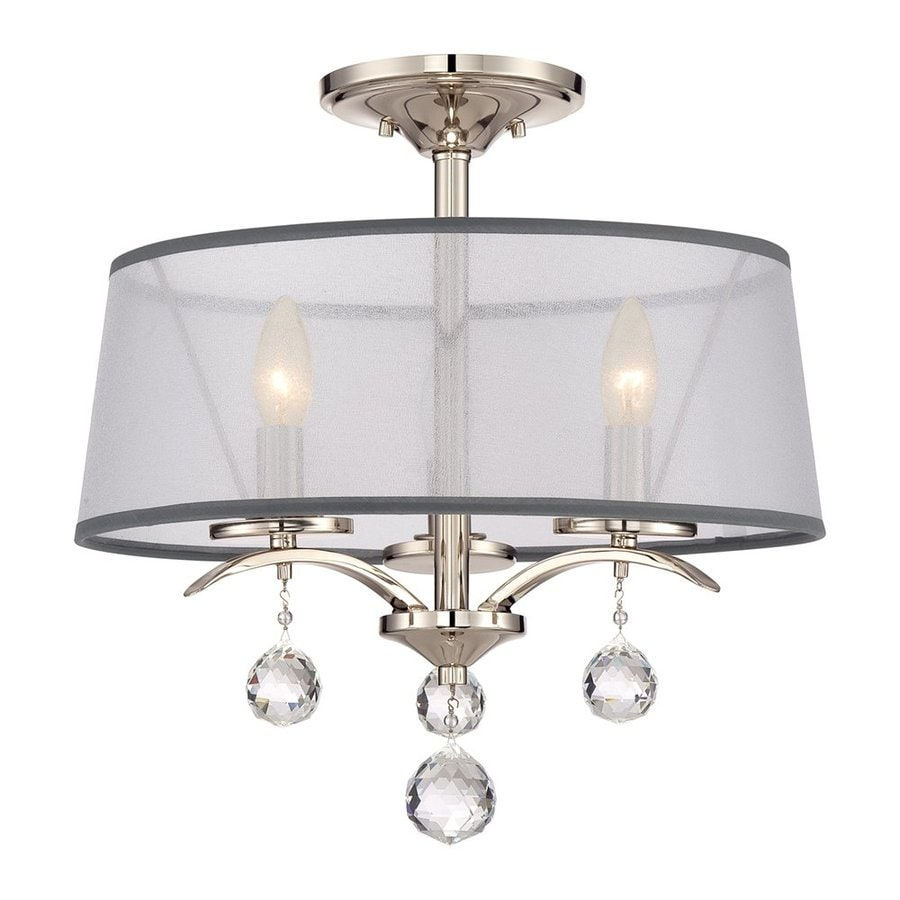 Quoizel Whitney 16-in W Imperial Silver Fabric Semi-Flush Mount Light