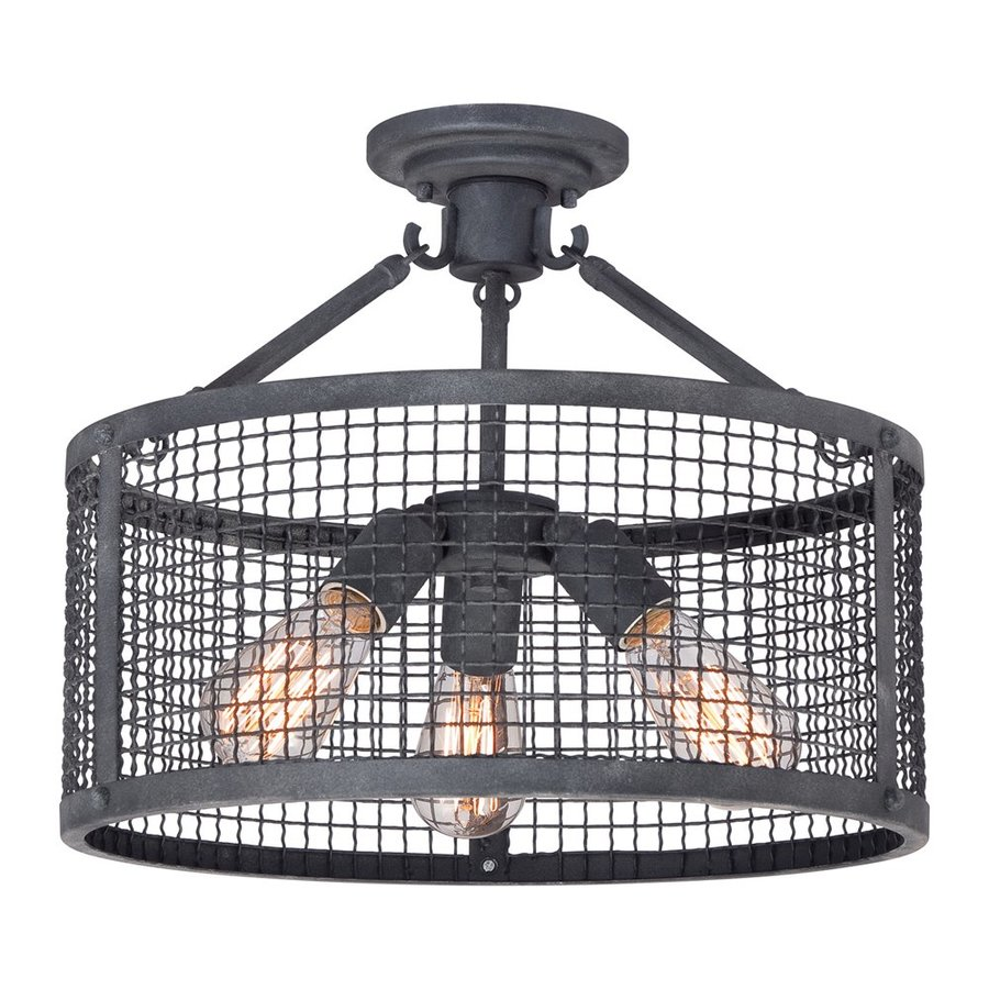 Quoizel Wilder 16-in W Mottled Black Metal Vintage Semi-Flush Mount Light